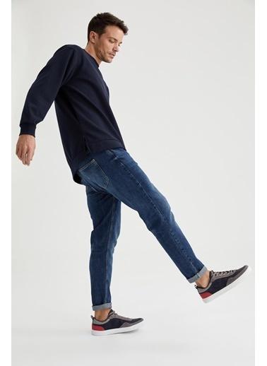 DeFacto Oversize Fit Bisiklet Yaka Basic Sweatshirt Lacivert